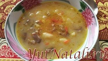 Грибной суп с плавлеными сырками.
